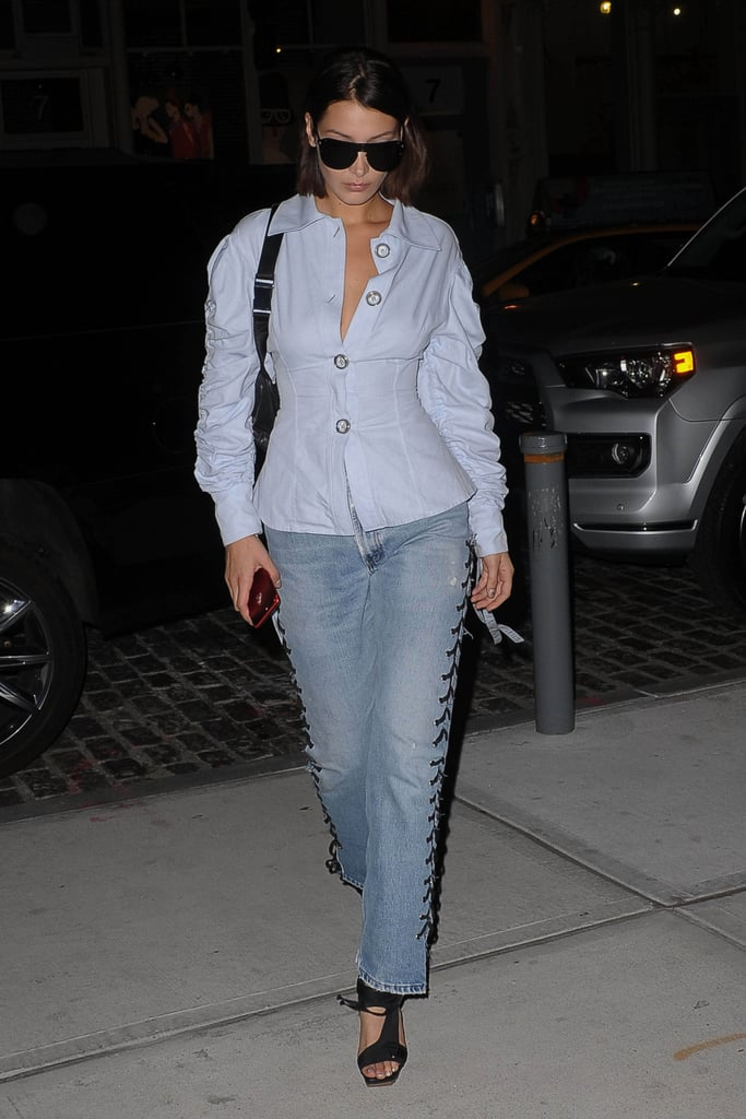 Bella Wearing Lace-Up Jeans
