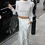 Vanessa Hudgens made monochromatic anything but boring when she brought on the texture in her cropped Catherine Malandrino blouse and white trousers by Houghton.