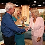 Camilla met a trainee guide dog named Clover during a visit to ITV's This Morning in London in September 2015.