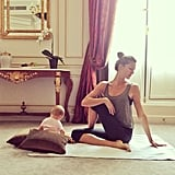 Vivian Brady practiced some yoga with her mom, Gisele Bündchen, in a hotel.  Source: Instagram user giseleofficial