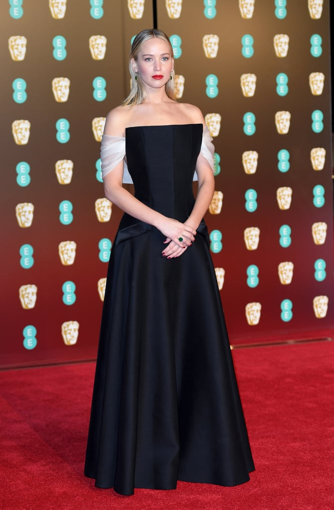 Jennifer kept things simple in this structured Dior dress for the February 2018 BAFTA Awards.
