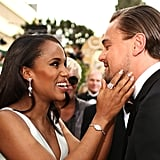 Kerry Washington got up close and personal with Leonardo DiCaprio on the red carpet at the 2014 Golden Globes.