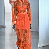 We'd love to see Meghan embrace her fashion-girl roots by wearing this sheer orange gown, although she might have to trade in the small bustier for something a little more royal appropriate.