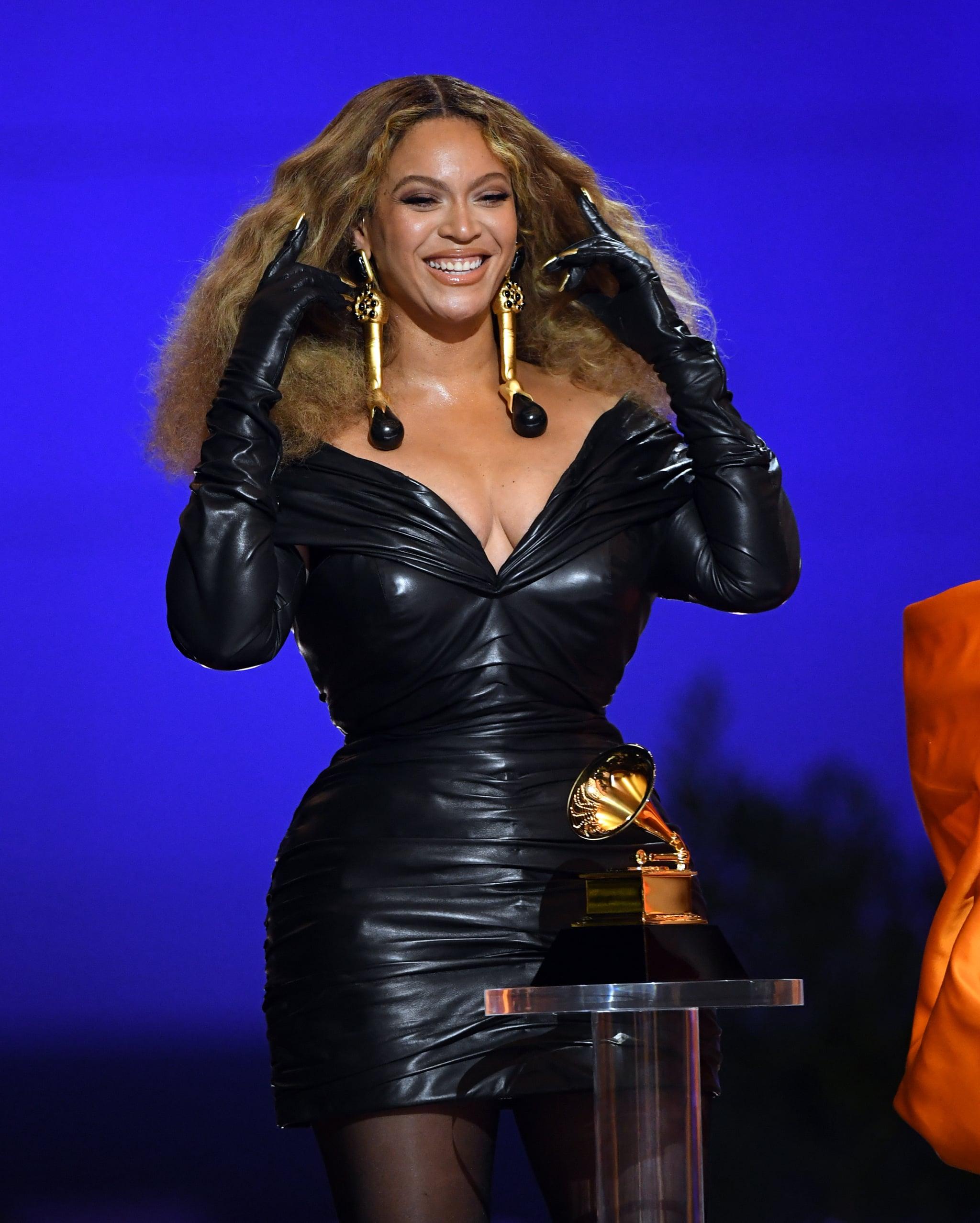 Beyoncé's Schiaparelli Leather Dress at the 2021 Grammys   POPSUGAR Fashion