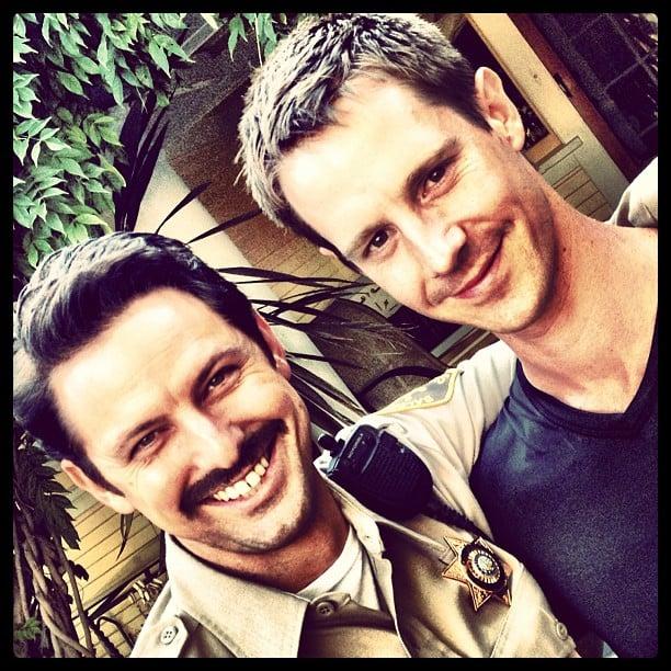 Deputy Sacks (Brandon Hillock) posed with Dohring between takes. Source: Instagram user theveronicamarsmovie