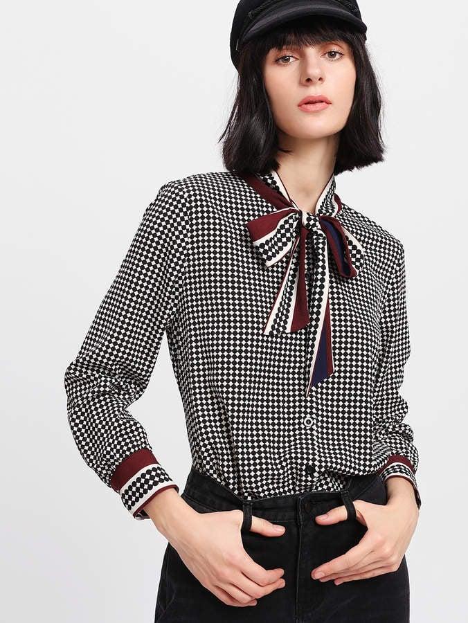 f010041615 Shein Mixed-Print Blouse | Work Tops at Shein | POPSUGAR Fashion ...