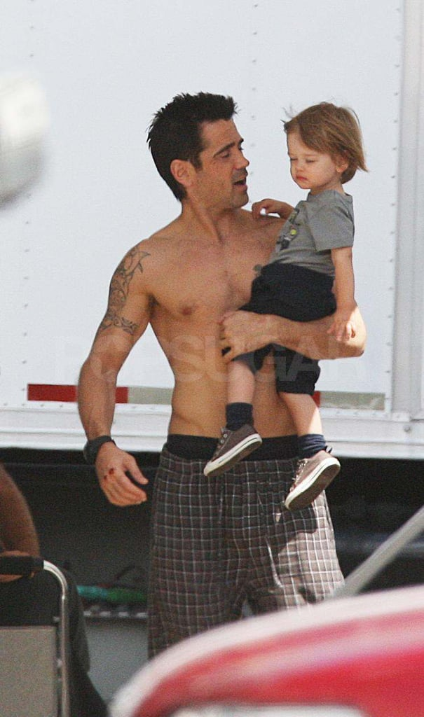 Colin Farrell Goes Shirtless on the Total Recall Set With His Son