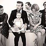David and Harper were the guests of honor during Victoria Beckham's 2013 NYFW show. The pair sat front row, and little Harper even got a smile out of seatmate Anna Wintour!