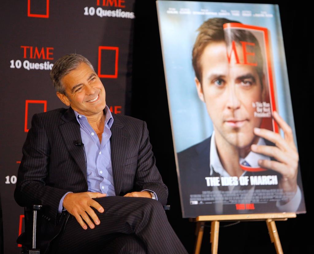 """George Clooney had a press-filled day promoting The Ides of March in NYC today ahead of this evening's red-carpet premiere in the city. George stopped off at the Time building for its 10 Questions Live series and paid a visit to David Letterman for a Late Show interview, which airs later tonight. George's latest directorial project, in which he also plays a political candidate, hits theaters this Friday after already receiving widely positive reviews at both the Venice and Toronto film festivals. George may not be interested in running for office in real life, but he's certainly a charmer, and he showed off his signature sense of humor as he joked about Ryan Gosling having a hard time finding work and why he's not on Twitter. Check out highlights from Clooney's TIME Q&A and check back tomorrow on PopSugar Rush for all the action from the premiere:  On choosing Gosling for the part: """"He was cheaper. He hasn't worked in awhile. I felt bad for him . . . When we were adapting the screenplay, from the very beginning, we had been considering Ryan all along. He and I had long conversations about film a couple of years before so I always wanted to work with him. I liked him. I thought he was smart . . . He's an interesting actor. He's now in sort of every movie, but for a long period of time he was sort of the reluctant star."""" On Twitter: """"I don't Twitter, because I will drink in the evening and I don't want anything that I could possibly write at midnight to actually end my career."""" On running for president: """"No. I would run from."""""""