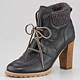 The knit-cuff detail on this See by Chloe Lace-Up Bootie ($340) is sure to keep your ankles extra cozy. Style it with a sweater dress, slouched socks, and tights for a cute layered look.