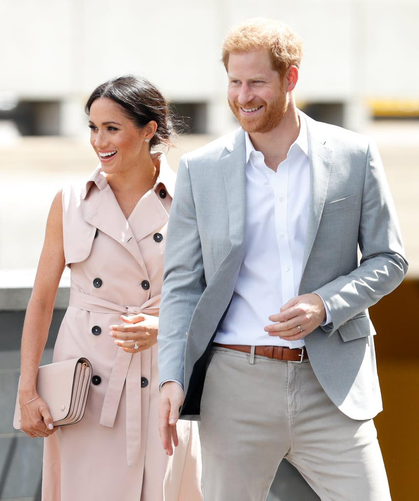 "When Prince Harry and Meghan Markle tied the knot on May 19, they did everything they could to make the day their own, and that included breaking a few royal rules along the way. On top of choosing a different cake flavor and making sure the wedding was a multicultural event, Harry also opted to become the first man in his family to wear a wedding band. Men wearing wedding bands is still a relatively modern trend, and the decision to go without one isn't uncommon for members of the royal family. Prince William notoriously decided not to wear a ring as he ""isn't one for jewelry,"" following in his grandfather's footsteps, and while Prince Charles now wears a signet ring on his pinkie finger, he never wore a ring while he was married to Princess Diana.  Harry also decided to break away from another tradition by choosing a platinum band. Up until his ring was revealed, it was expected that it would be crafted from a single nugget of rare Welsh gold, a tradition that was set up by the queen mother back in 1923 and that all the royal brides have since followed, including Meghan. Ahead, get a closer look at Harry's wedding band."