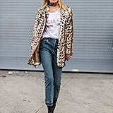 Style Your Leopard-Print Coat With: A Logo Tee, Jeans, and Boots