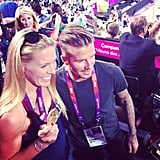 David Beckham made an appearance at Beach Volleyball. Source: Instagram user