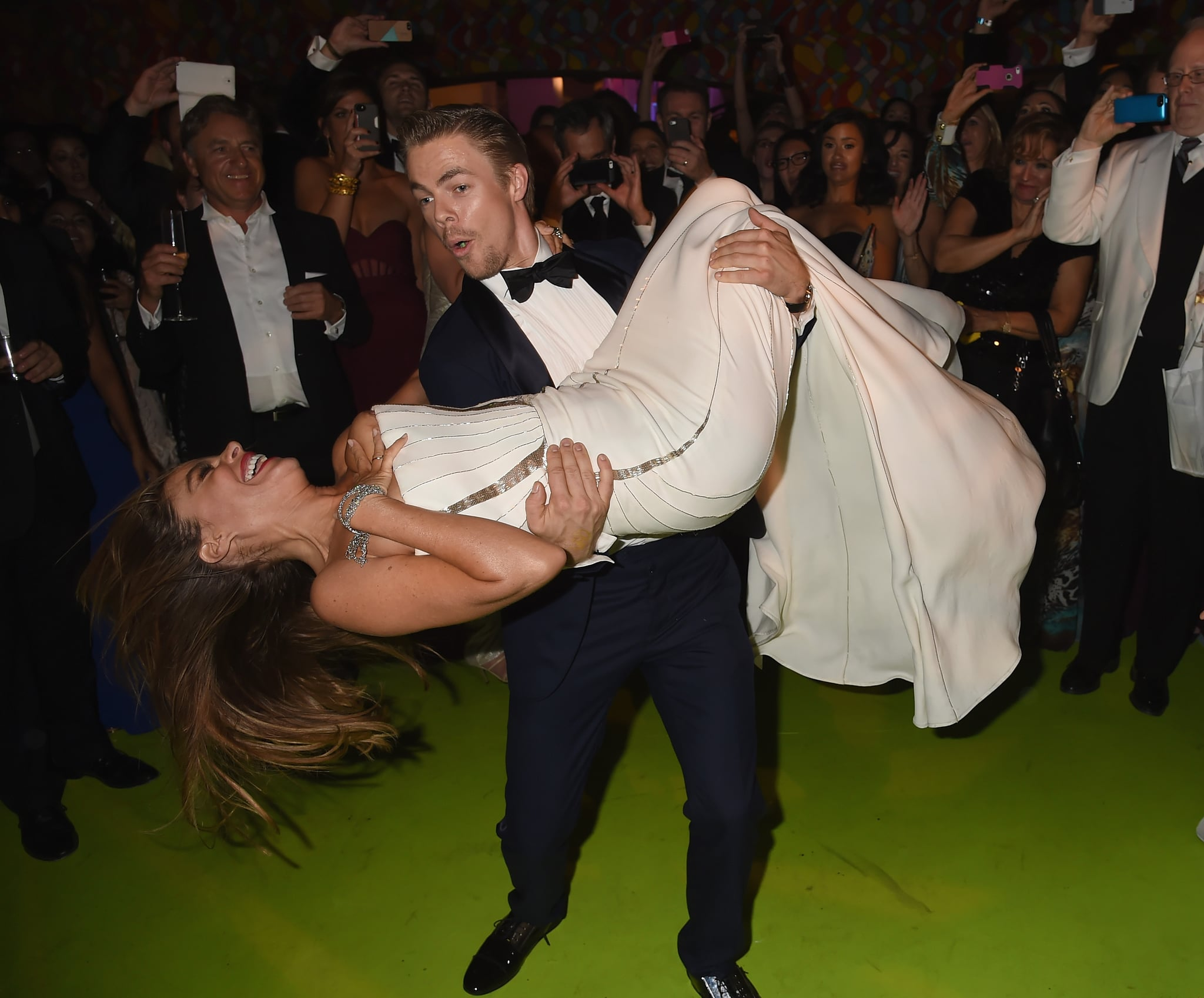 At one point, Derek even picked Sofia up and swung her around the dance floor.