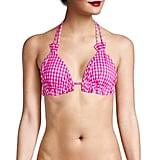 Caroline Constas Nikki Ruffled Gingham Triangle Bikini Top