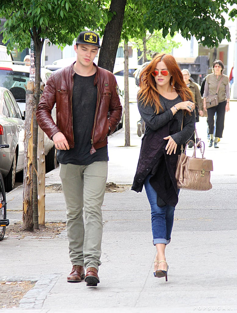"""Nicholas Hoult and Riley Keough took a walk around NYC yesterday after they partied together at Monday night's Met Gala, where Nicholas's ex Jennifer Lawrence was also in attendance. There was no drama, though, since Nicholas shared with People that he and Jennifer are """"friends"""" and that they're """"about to work on a film together."""" Their upcoming project, X-Men: Days of Future Past, helps explain the duo's dinner date last week, which prompted speculation that they might be rekindling their romance after calling off their two-year relationship in January. It looks like Nicholas may now be moving on with Riley, after the two met while filming Mad Max: Fury Road, though he'll soon be back alongside Jennifer since filming on the seventh X-Men installment is already under way."""