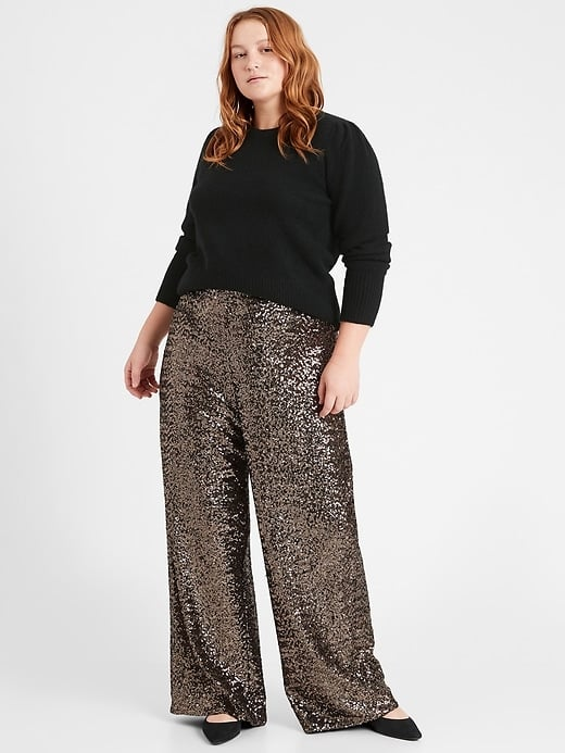 Banana Republic High-Rise Wide-Leg Sequin Pant