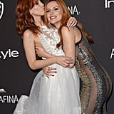 Sisters Bella and Dani Thorne shared a sweet moment at InStyle and Warner Bros.'s Golden Globes afterparty.