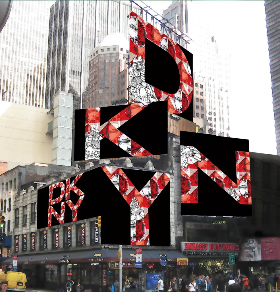 A rendering of art duo How & Nosm's installation for the DKNY Artworks project in New York's Times Square. Photo courtesy of DKNY