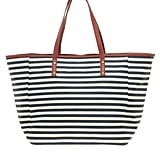 For the classically-inclined, you can't go wrong with this seasonally-perfect nautical-striped tote (whether or not you find yourself on Nantucket).  Warehouse Large Canvas Stripe Shopper ($49)