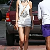 Adriana Lima went for a solo stroll in Miami on Easter Sunday.