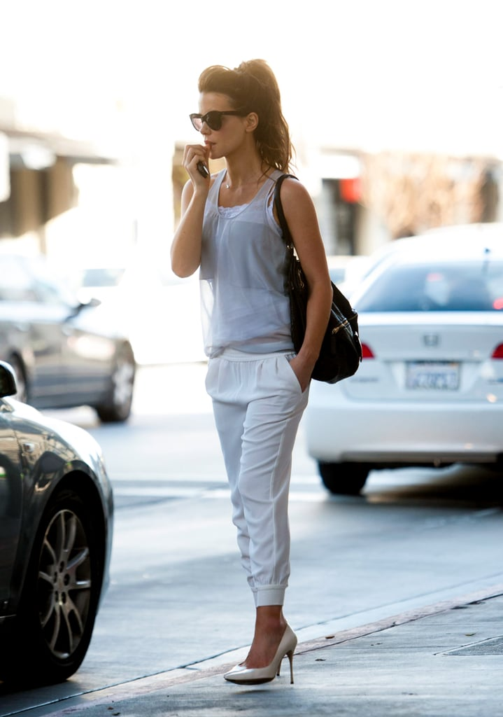 You loved this look when we first re-created it, and we think it's sure to be a favorite for seasons to come. The Joie sweatpants could work at the gym, but she made them sexpot-appropriate with heels and a sheer tank worn over a lacy underpinning.