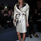 New Anna Dello Russo trend alert? Halo-like headbands. Here she wears a more Olympian-style one to the Max Mara show.