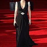 Kate Winslet wore a black dress with sparkling sleeves to the Titanic 3D world premiere in London.