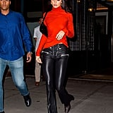 She Styled It With Black Leather Lace-Up Pants