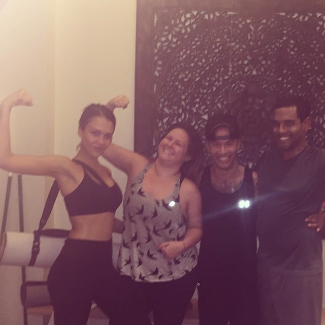 Jessica Alba was feeling good after an a.m. hot yoga class.
