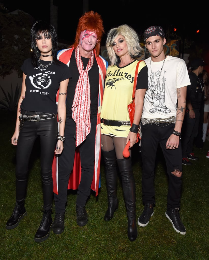 Kaia Gerber, Rande Gerber, Cindy Crawford, and Presley Gerber as Joan Jett, David Bowie, and Blondie's Debbie Harry