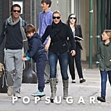 Kate Winslet and Ned Rocknroll walked around NYC with her kids Joe and Mia in November 2011.