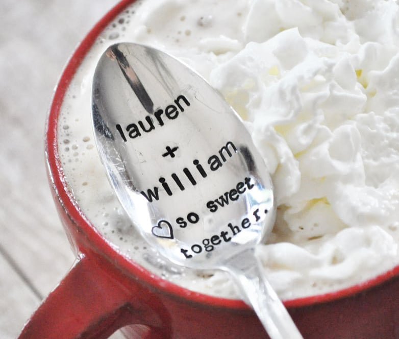 hand-stamped JessicaNDesigns spoons ($20) with any message to sweeten up someone you love's morning coffee, hot chocolate, or tea.  —Molly Goodson, VP of content