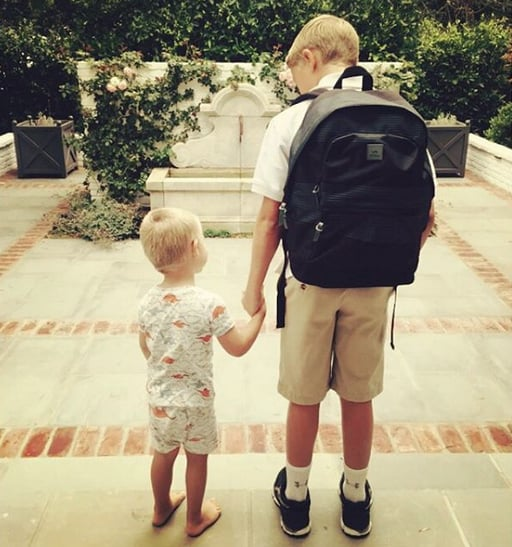 """""""Waiting for the bus with brother #backtoschool"""""""