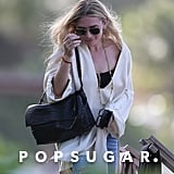 Ashley Olsen White Caftan and Jeans in St. Barts Dec. 2016