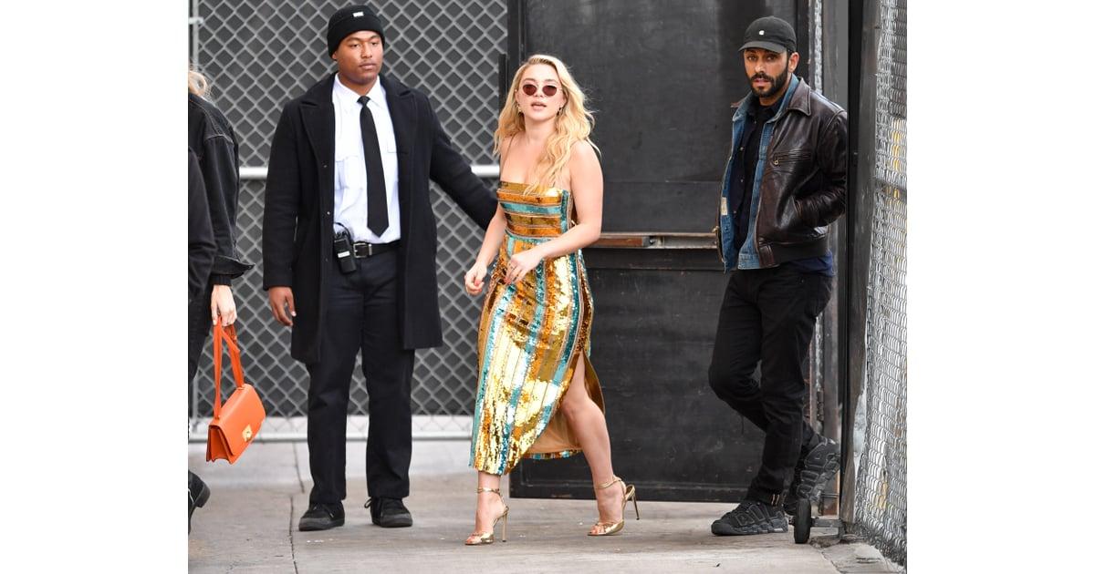 Florence Pugh Barefoot >> Florence Pugh S Striped Sequin Dress On Jimmy Kimmel Live