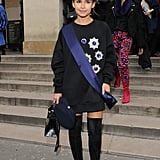 Miroslava Duma outside the Elie Saab Haute Couture show.