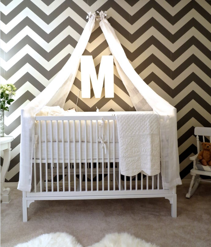 A DIY Canopied Crib & A DIY Canopied Crib | Molly Mesnicku0027s Gray Chevron Nursery ...
