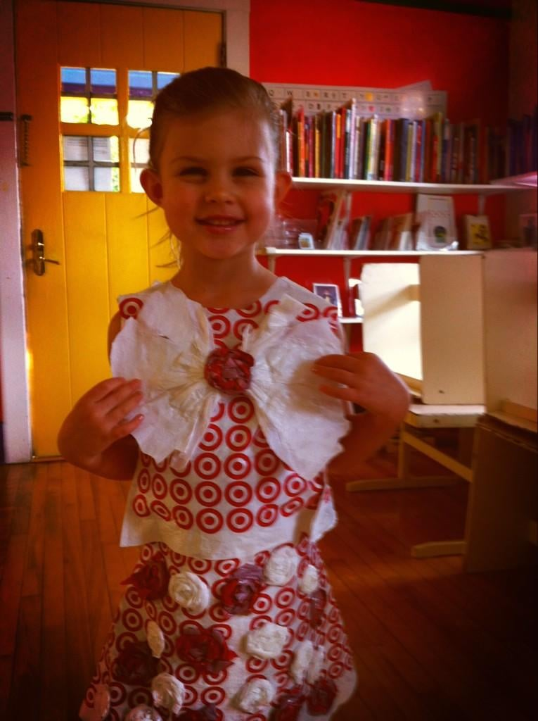 Who knew Target shopping bags could make such a beautiful dress? Birdie Silverstein modeled her mama's crafting creation once it was complete. Source: Twitter user Busyphilipps25