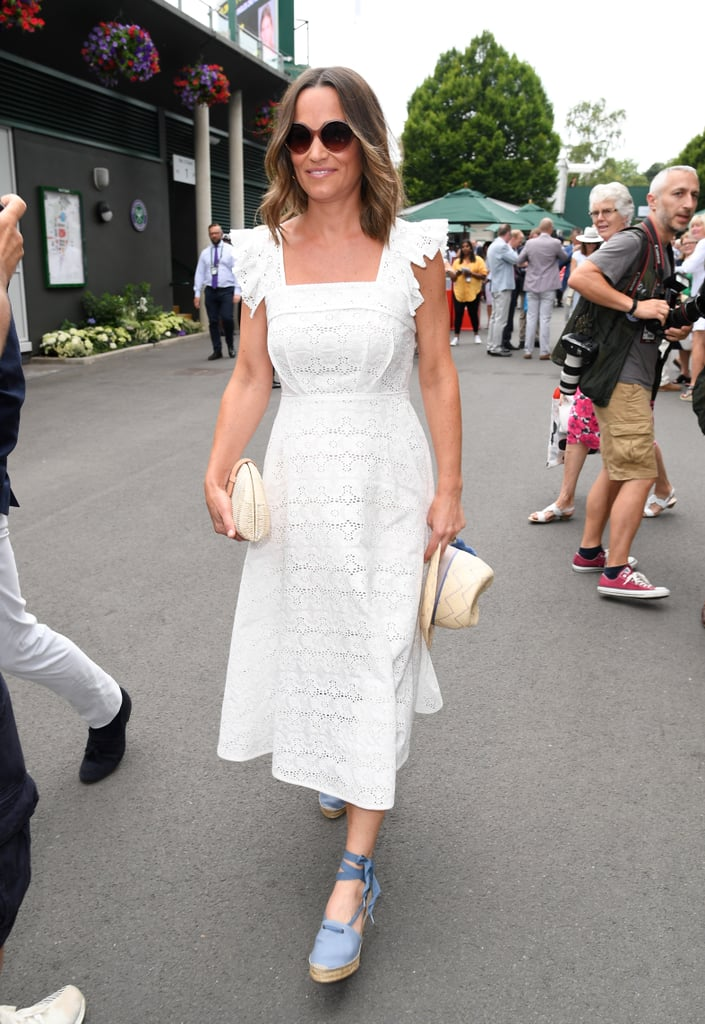 Pippa also wore the clutch with an Anna Mason dress and blue espadrilles on July 5 at Wimbledon.