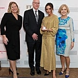 """Victoria shared a photo from the British Walpole Awards, writing, """"Thank you @walpole_uk. Such an honour to be named British Luxury Brand of the Year x vb #WalpoleAwards."""" She accessorised her metallic set with a silver watch and simple black heels."""