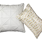 Glazed Metallic Pillow ($30) and Beaded Pillow in Silver and Gold ($25)