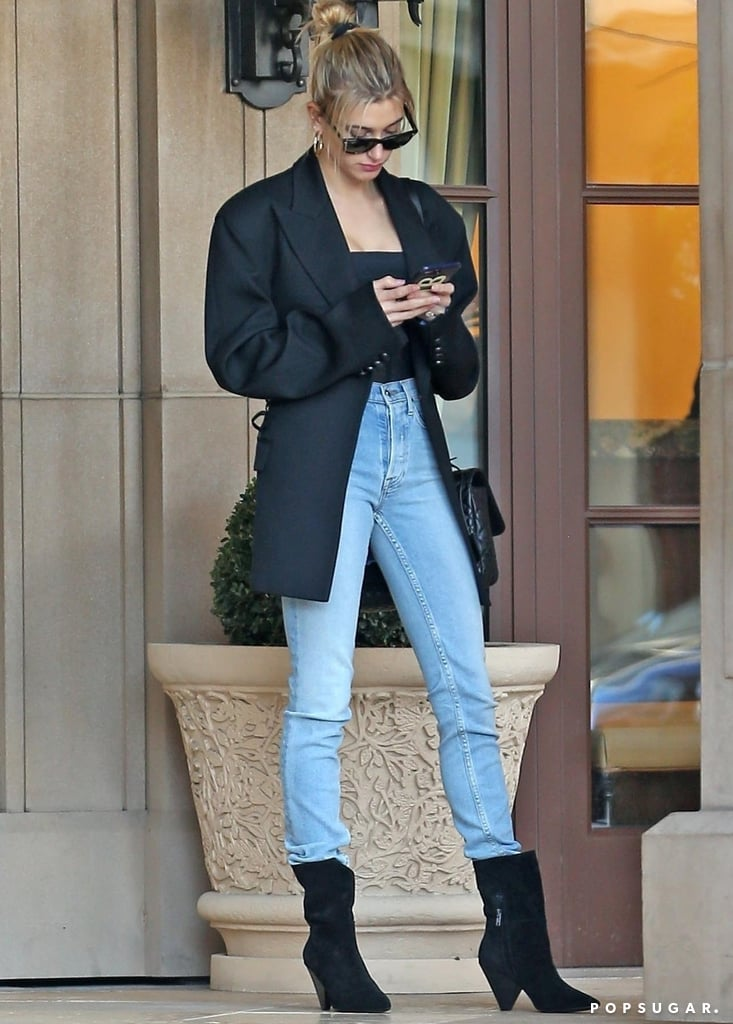 95647b8e6ee Hailey Baldwin's Black Ash Boots January 2019 | POPSUGAR Fashion