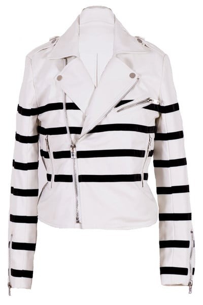 Modern Citizen black and white striped leather jacket ($129)