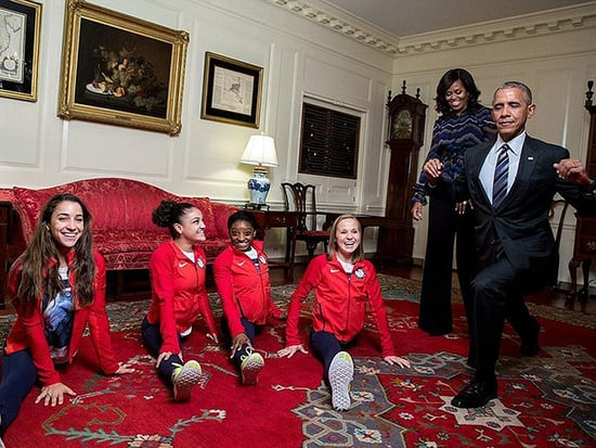 President Barack Obama Tries the Splits with the Final Five as He Welcomes Team USA to the White House