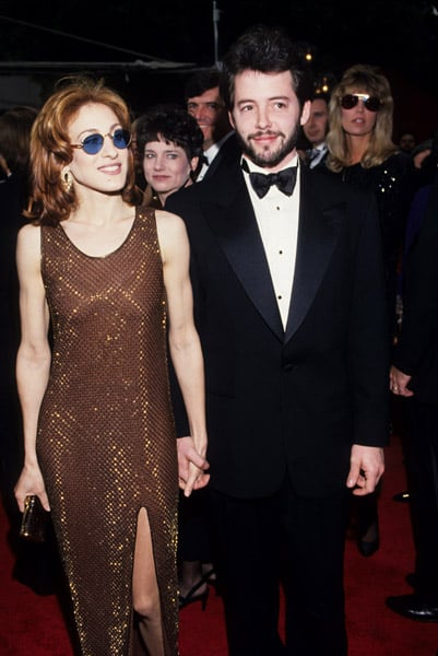 SJP in shimmery brown and fun shades, Matthew by her side, at the Academy Awards in 1993.