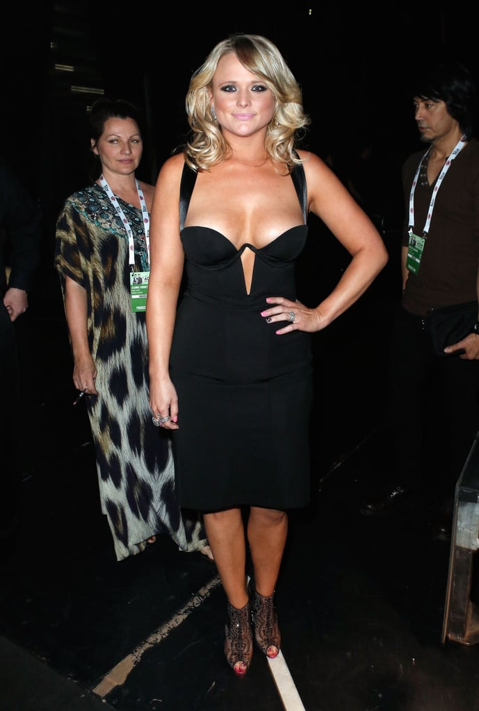 Miranda Lambert wore a black dress.