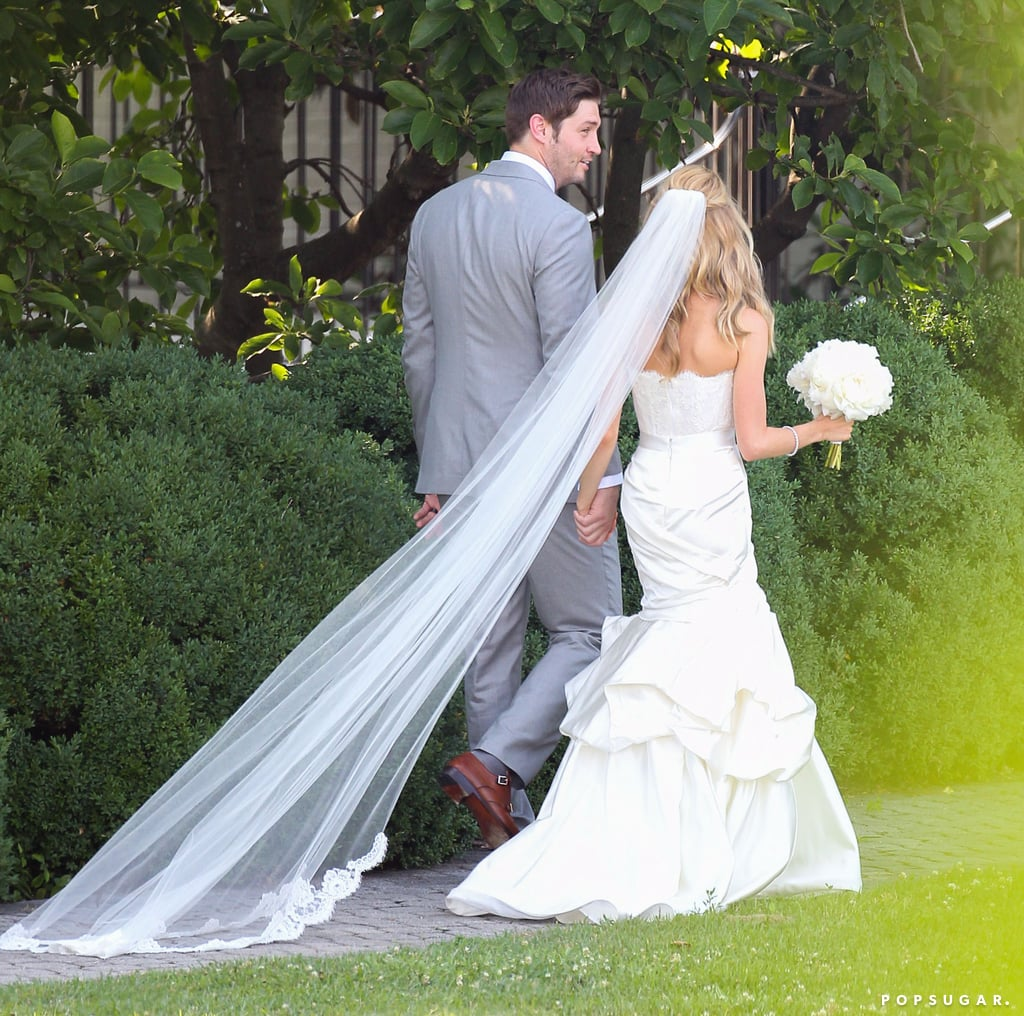 Jay's gray suit perfectly complemented Kristin's beautiful strapless gown.