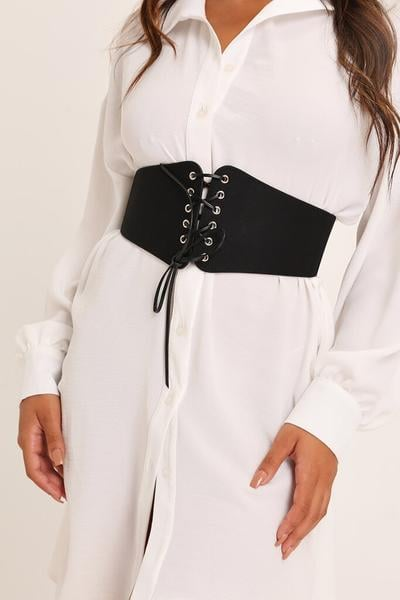 I Saw It First Black Corset Lace Up Belt