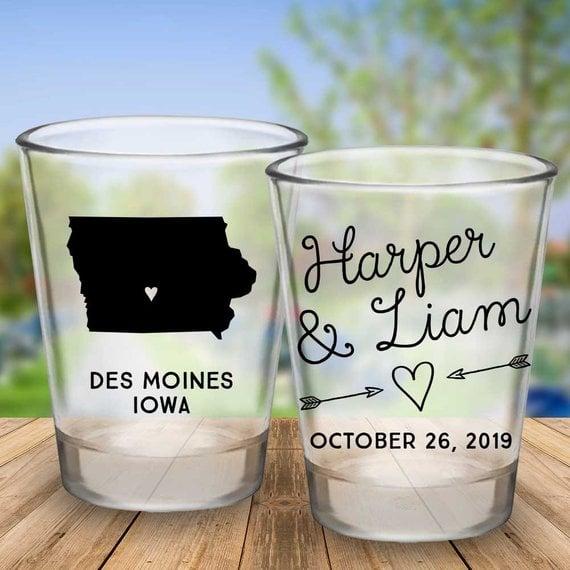 Custom Iowa Wedding Favor Shot Glasses